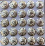 25 Vintage Anchor Crown Buttons Royal Navy