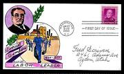 988 3c Stamp 1950 Samuel Gompers Fdc Hand Painted By William N. Wright