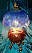 1900 Gorgeous Feathered Winged Dragon Brass Lamp Dragon Finial Claw And Ball Feet