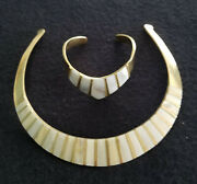 Vintage Mexican Inlaid Mother Of Pearl And Brass Necklace And Bracelet Set