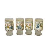Vintage Four Anchor Hocking Glasses With Holder 1776 Liberty Bell Bicentennial