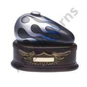 Motorcycle Gas Tank Cremation Urn | Blue Large Adult 212 Cubic Inch Funeral Urn