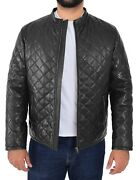 Mens Leather Quilted Jacket Cross Stitch Casual Style Jeff Black