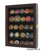 Challenge Coin Display Case Cabinet Pin Medal Shadow Box Real Wood Real Glass