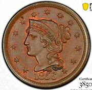 1856 Slanted 5, Pcgs Gold Seal Ms65bn, Cac Verified. , Lustrous