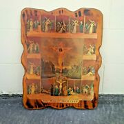 Vintage Jesus Disciples Shellac Wood Wall Hanging 70s Way Stations Of The Cross