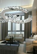 Dimmable Crystal Pendant Lights Stainless Rope Ceiling Chassis Lighting Fixtures