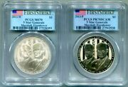 2-pc.pcgs-70 Proof And Bu 2013 Five Star General Commem Dollars First Strike