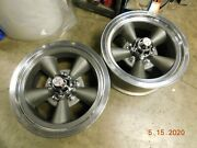 Pair Vintage 14x6 Torq-thrust Wheels Ford And Chevy Patterns Mopar Camaro Mustang