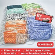 Set Of 100 Pcs.triple Layers Cotton Face Mask With Nose Wire And Filter Pocket