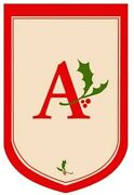 Initial A - Holly Berry Monogram Flag Large 28 X 44
