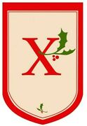 Initial X - Holly Berry Monogram Flag Large 28 X 44