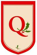 Holiday Flag Monogram Applique - Q Large Outdoor Decor 2-sided 28 X 44