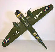 Vintage Marx Tin Windup Army Plane. Missing Tail. Motor Intact And Working.