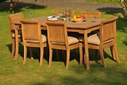 7-piece Outdoor Teak Patio Dining Set 83 Rectangle Table 6 Armless Chairs Giva