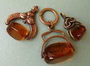 Antique/vintage Citrine Spinning Watch Fobs Pendant Charms Yellow Metal Swivel
