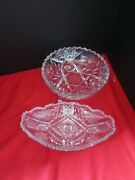 2 Pcs Vintage Elegant Glass Bowl Footed And Celery Dish Cut Crystal Antique
