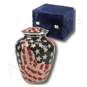 Usa Flag Cremation Urn Brass Large Funeral Urn For Ashes 202 Cu Inches   Adult