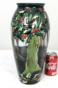 Rare Large Moorcroft Vase New Forest Series Holly Hatch Pattern Freepost