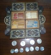 Antique Bone Gaming Chips Set. 4 Colors. Includes Chinese Mother Of Pearl Chips