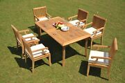 7-piece Outdoor Teak Patio Dining Set 83 Rectangle Table 6 Arm Chairs Sack