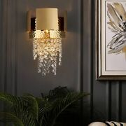 Stainless Crystal Wall Lamp Gold Color With Led E14 Sconces Lighting Fixture New