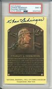 Charlie Gehringer Signed Hof Plague Psa/dna 9 Mint Cooperstown Ny Card Auto