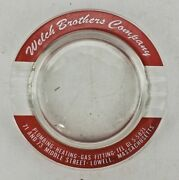Vintage Welch Brothers Company Round Glass Ashtray Clear Red Boston Lowell