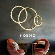 Round Ring Chandelier Lighting Led Nordic Stainless Crystal Polished Steel Light