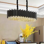 Chandelier Crystal Lights Black Cord Rectangle Shape Style With Led Lighting New