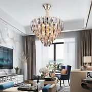Crystal Stainless Chandelier Light Polished Steel Gold Led Smoke Gray Home Decor