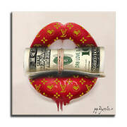 Kiss My Money , Original Painting On Canvas, By Dr8love , Signed, Coa