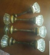 Antique Clear Glass Ribbed Door Knobs Vintage And Face Plates
