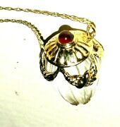 Acorn, Carved Rock Crystal And Ruby, 14k Gold Pendant