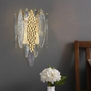 Wall Lamps Decoration Luxury Gold/blue Stained Frosted Glass For Corridor Aisles