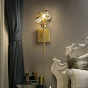 Wall Lamps Gold Glass Stone Modern Cozy Home Luxury Golden Copper With Led Bulbs