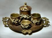 Rare Collectible Antique French Bronze Brass Copper Smoking Set Flowers