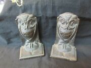 S38 Antique Bronze Owl Book Ends Marked Bronze Pat July Gd13
