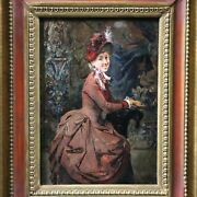 Antique Original Oil Painting On Panel Portrait Of A Lady American School 19th