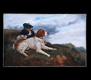 Fine Original Antique Oil Painting On Canvas Hunting Dogs 19th