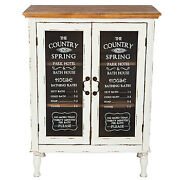 New Farmhouse Cottage Distressed Storage Country Cabinet Glass Doors