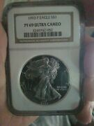 1993 P Silver Eagle Pf 69 Ultra Cameo Ngc Gorgeous Coin. A Real Treasure