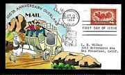 1120 4c Stamp 1958 -overland Mail Delivery- William Wright Hand Painted Fdc