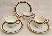 Okura Fine China 3 Sets - Demitasse Cup And Saucer - White With Gold Trim