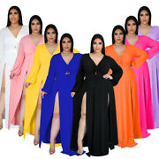 Plus Size Women's V Neck Long Sleeve Solid Color High Slit Sexy Long Dress