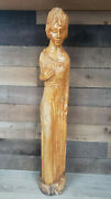 Rare Vintage Handcarved Wooden Statue Of A Woman Holding Her Breast. 34