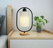 Table Light Desk Wood Base Solid Fabric Cloth Lampshade Metal Body Home Lighting