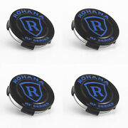 Rohana Rfx Center Caps Gloss Black With Blue Lettering - Set Of 4