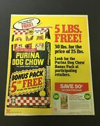 Vtg 1981 Purina Dog Chow The Eager Eater Dog Food Free 5 Lbs. Print Ad Coupon