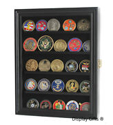 Challenge Coin Casino Chip Medal Display Case Rack Cabinet Real Wood Real Glas